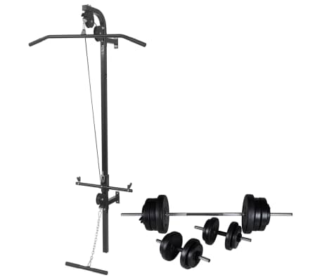 vidaXL Wall-mounted Power Tower with Barbell and Dumbbell Set 60.5 kg