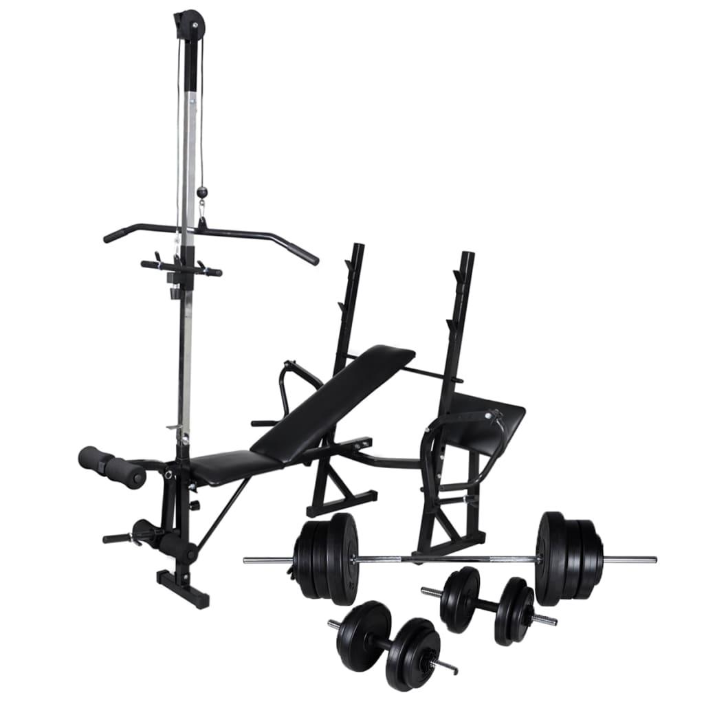vidaXL Bancă de antrenament, rastel și set de haltere/gantere, 60,5 kg poza vidaxl.ro