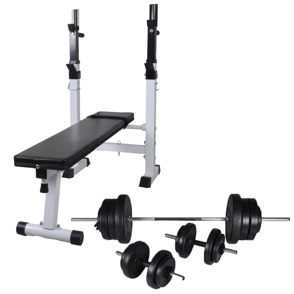 vidaXL Bancă de greutăți cu raft și set de haltere și gantere, 60,5kg poza vidaxl.ro