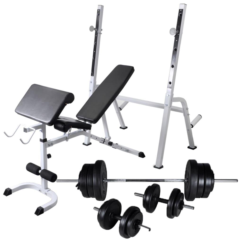 vidaXL Bancă antrenament rastel greutăți, set haltere/gantere, 60,5kg poza vidaxl.ro