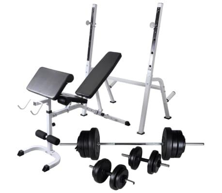 vidaXL Banc d'entraînement et support de poids jeu d'haltères 60,5 kg[1/11]