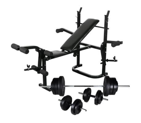 vidaXL Bancă de greutăți cu raft, set de gantere și haltere, 60,5kg