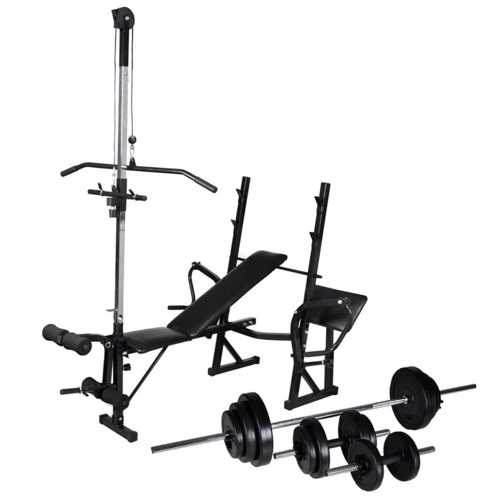vidaXL Bancă fitness cu rastel greutăți, set haltere/gantere, 30,5kg vidaxl.ro