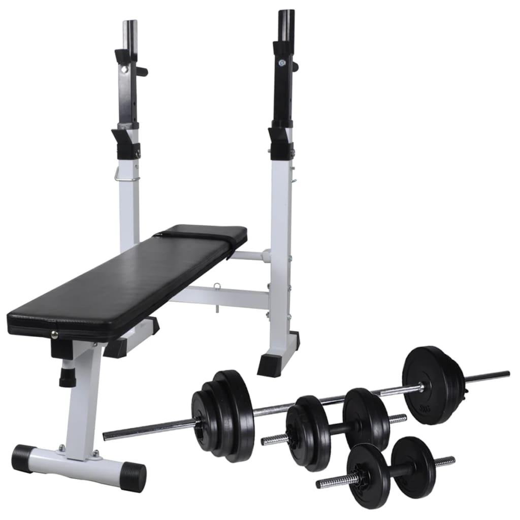 vidaXL Posilovací lavice se stojanem na závaží a sadou činek 30,5 kg