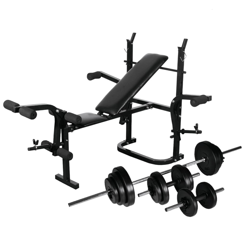 vidaXL Bancă fitness cu rastel greutăți, set haltere/gantere, 30,5 kg poza vidaxl.ro