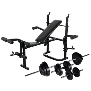 vidaXL Bancă fitness cu rastel greutăți, set haltere/gantere, 30,5 kg[1/8]