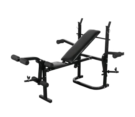 vidaXL Bancă fitness cu rastel greutăți, set haltere/gantere, 30,5 kg[2/8]