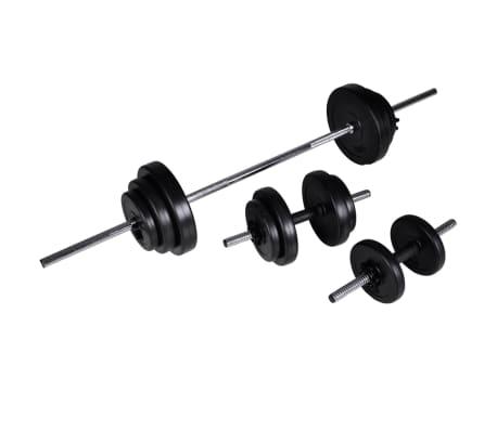 vidaXL Bancă fitness cu rastel greutăți, set haltere/gantere, 30,5 kg[6/8]