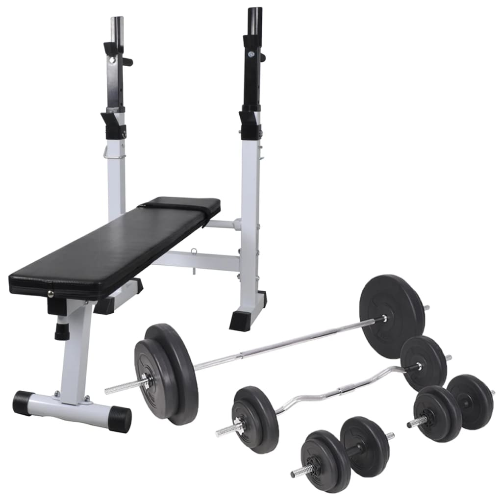 vidaXL Bancă de antrenament, rastel set de haltere/gantere, 90 kg poza vidaxl.ro
