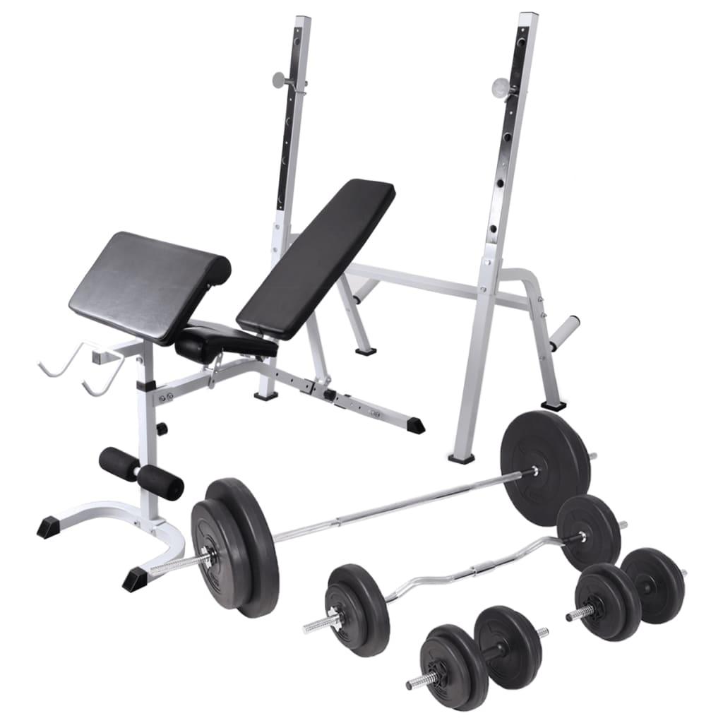 vidaXL Bancă fitness cu rastel greutăți, set de haltere/gantere, 90 kg poza vidaxl.ro