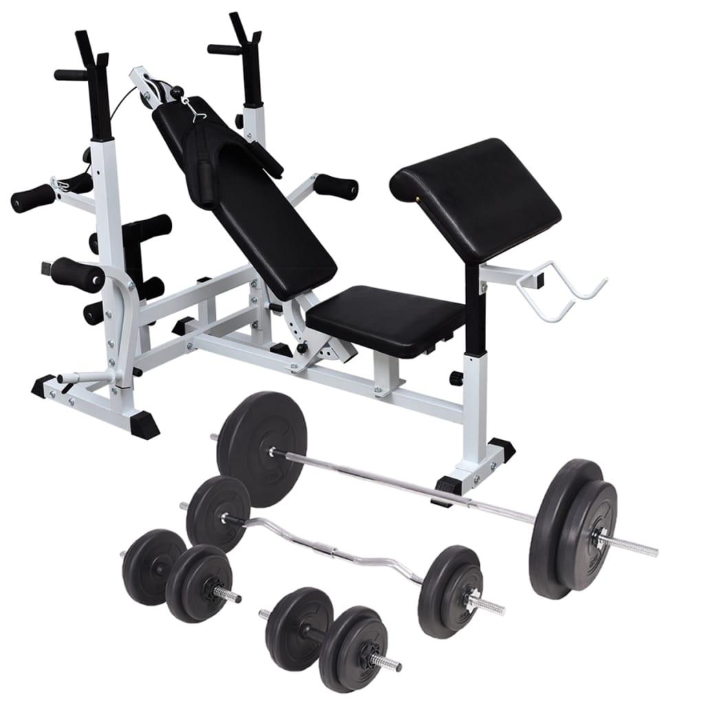 vidaXL Bancă de greutăți cu raft și set de haltere și gantere, 90 kg vidaxl.ro