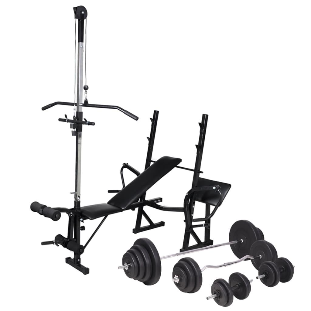 vidaXL Bancă fitness cu rastel greutăți, set haltere/gantere, 120 kg vidaxl.ro