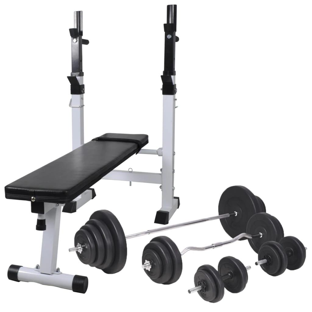 vidaXL Bancă fitness cu rastel greutăți, set haltere/gantere, 120 kg poza vidaxl.ro