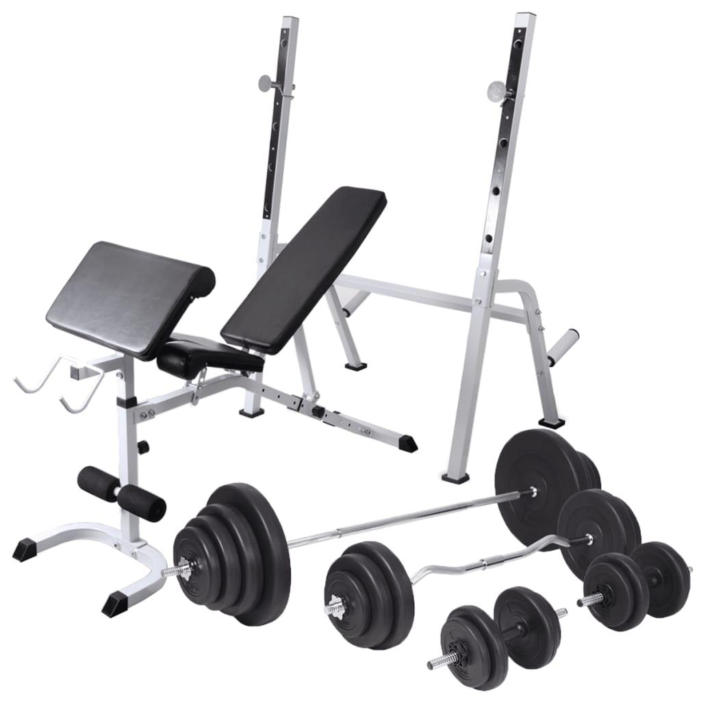 vidaXL Bancă fitness cu raft greutăți, set haltere/gantere, 120 kg poza vidaxl.ro