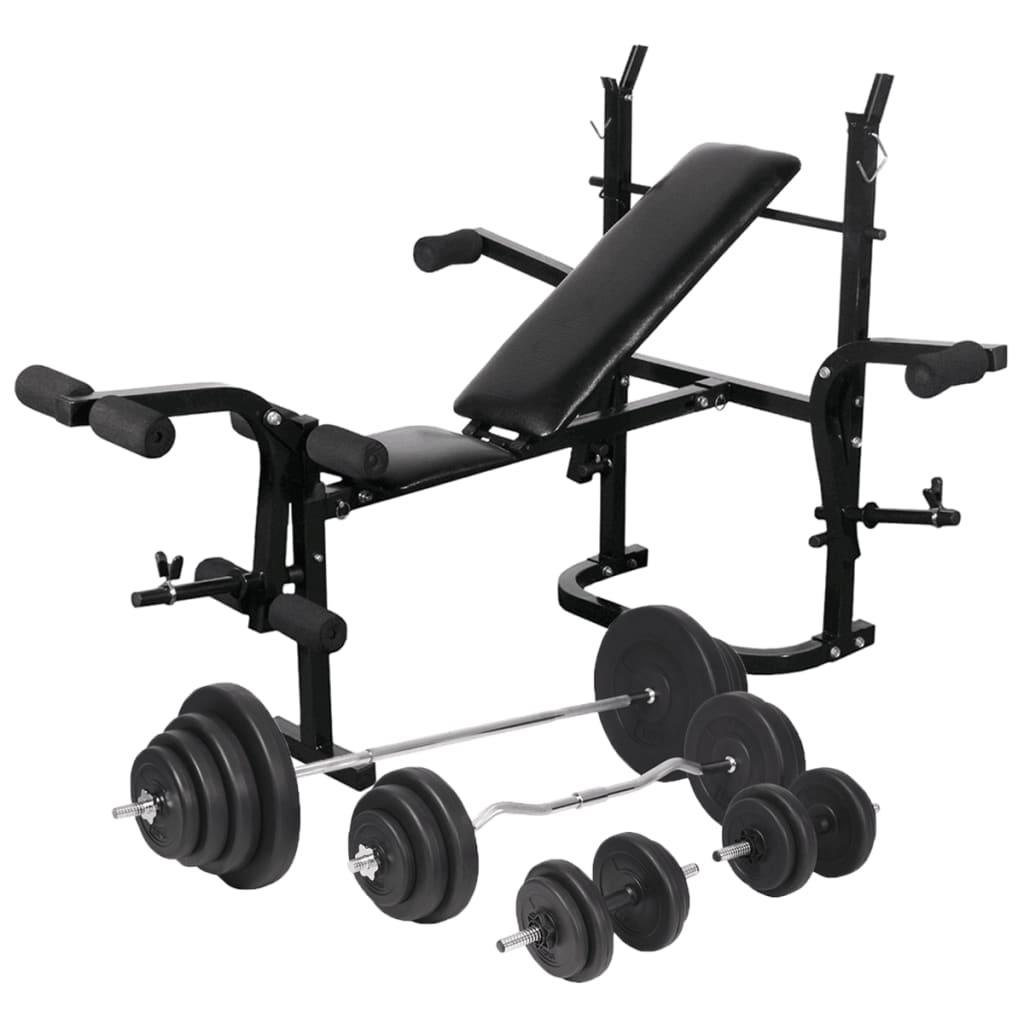 vidaXL Posilovací lavice se stojanem na závaží a sadou činek 120 kg