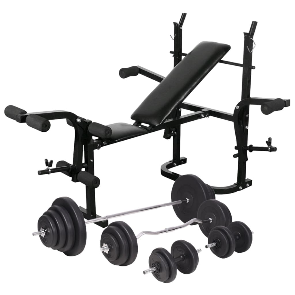 vidaXL Bancă fitness cu raft greutăți set haltere și gantere 120 kg poza vidaxl.ro
