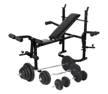 vidaXL Bancă fitness cu raft greutăți set haltere și gantere 120 kg