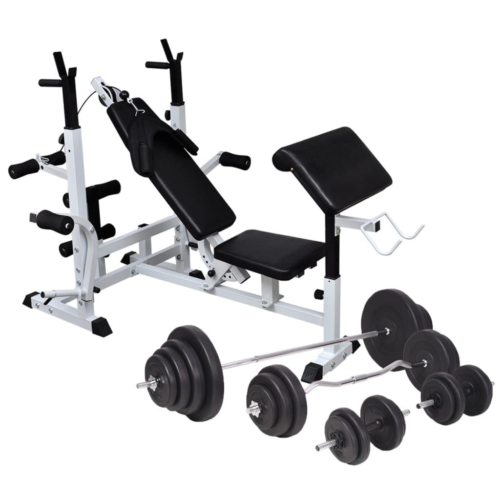 vidaXL Bancă de greutăți cu raft și set de haltere și gantere, 120 kg vidaxl.ro