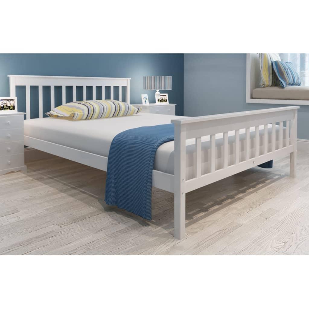 vidaXL Κρεβάτι Λευκό 140×200 εκ. Μασίφ Ξύλο Πεύκου Στρώμα Αφρού Μνήμης