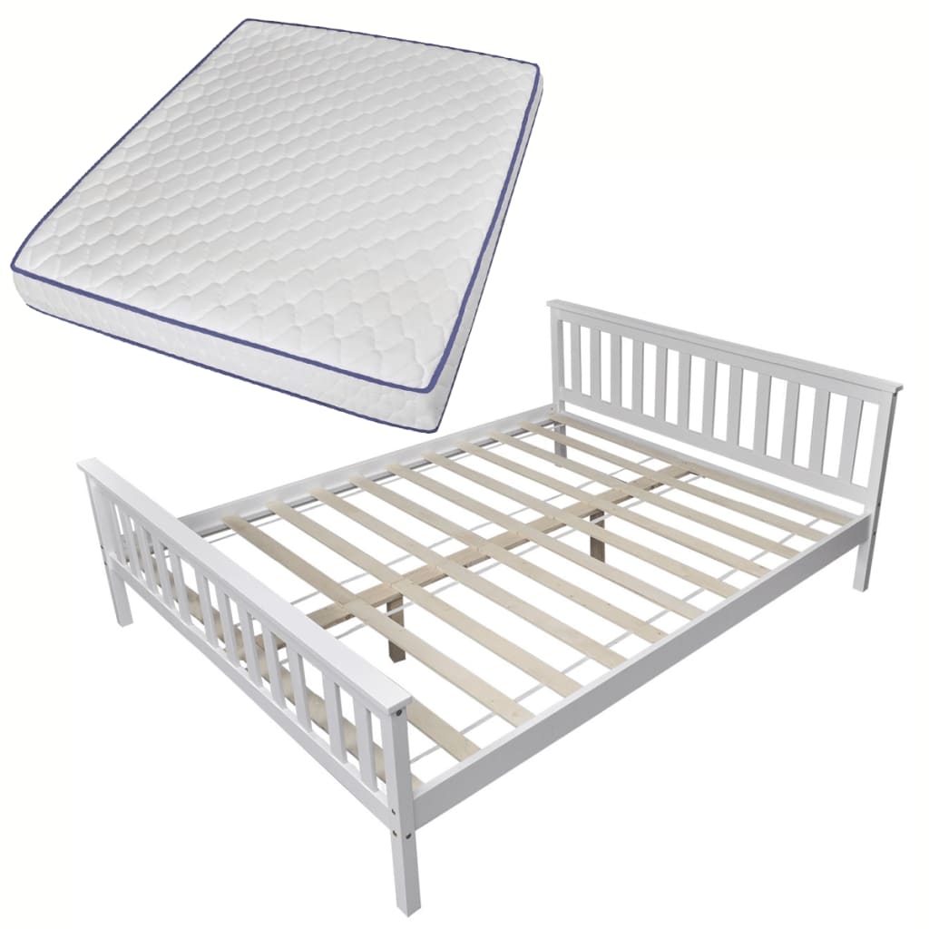vidaXL Κρεβάτι Λευκό 160 x 200 εκ. Μασίφ Ξύλο Πεύκου + Στρώμα Αφρού