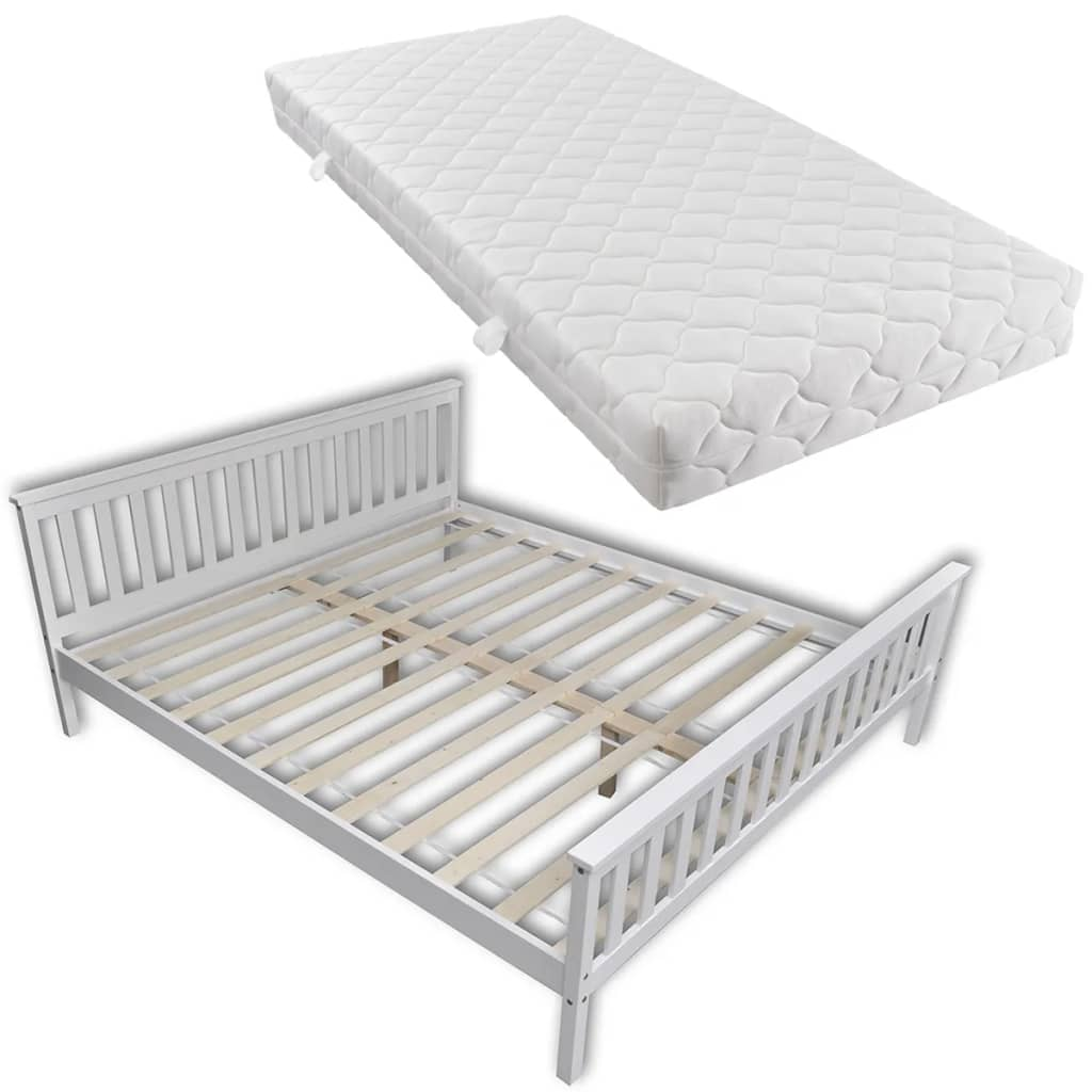 vidaXL Κρεβάτι Λευκό 180 x 200 εκ. από Μασίφ Ξύλο Πεύκου με Στρώμα