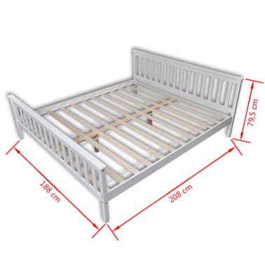 vidaXL voodi ja madrats 180 x 200 cm, männipuidust, valge