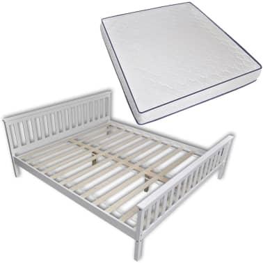 vidaXL Lit avec matelas mousse à mémoire Blanc Pin massif 180 x 200 cm[2/14]