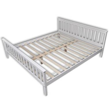 vidaXL Lit avec matelas mousse à mémoire Blanc Pin massif 180 x 200 cm[4/14]