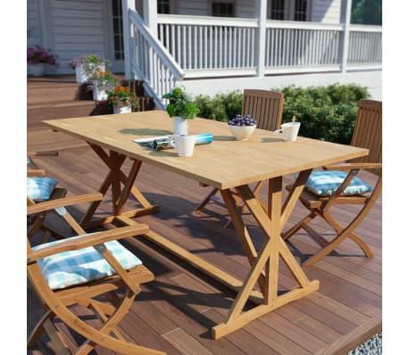 vidaXL Mesa de comedor exterior de madera de teca maciza 180x90x75 ...