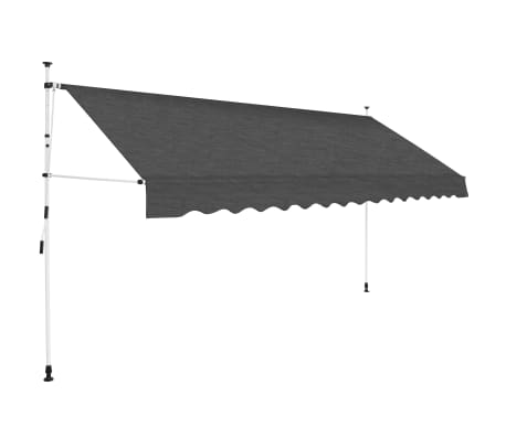 "vidaXL Manual Retractable Awning 137.8"" Anthracite"