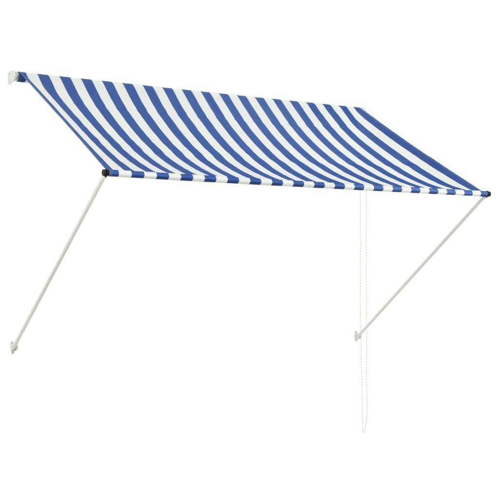 vidaXL Zatahovací markýza modro-bílá 200 x 150 cm