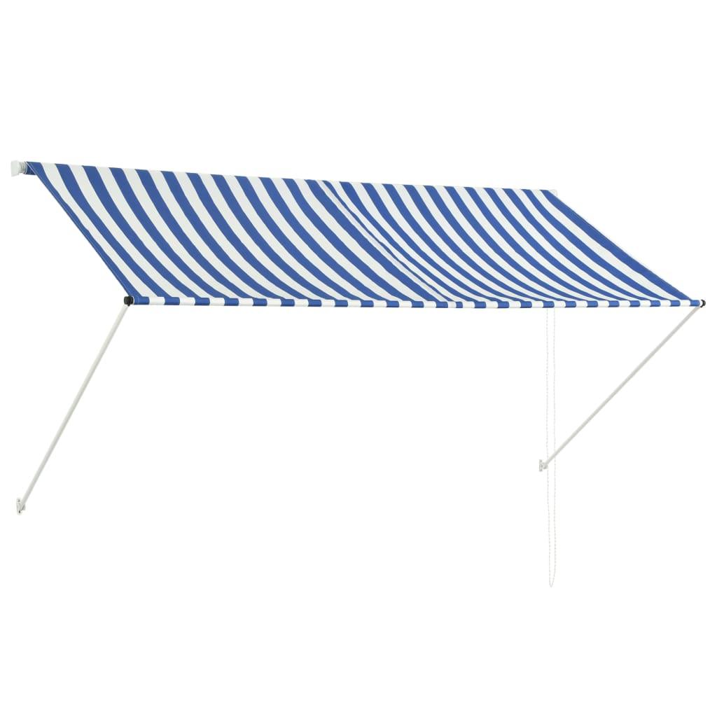vidaXL Zatahovací markýza modro-bílá 250 x 150 cm
