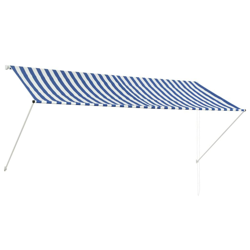 vidaXL Zatahovací markýza modro-bílá 300 x 150 cm