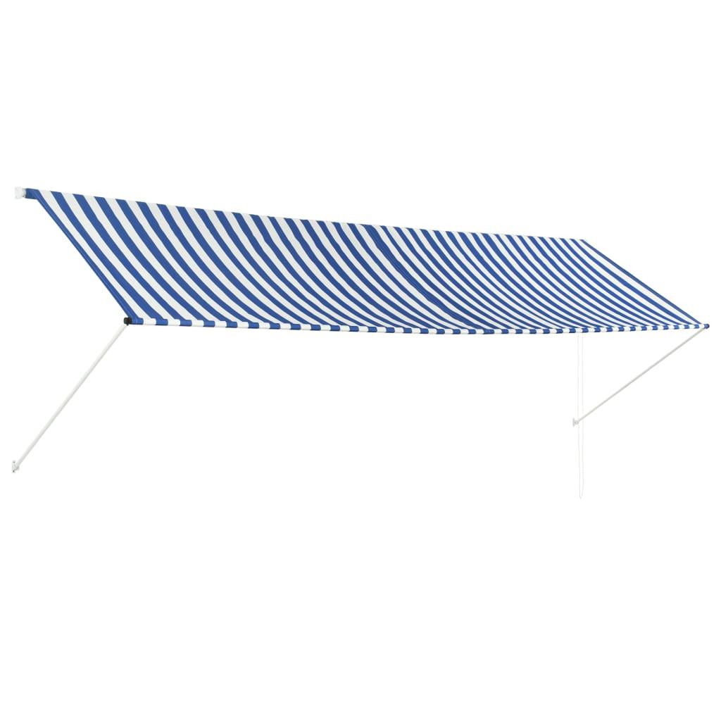 Zatahovací markýza modro-bílá 400 x 150 cm