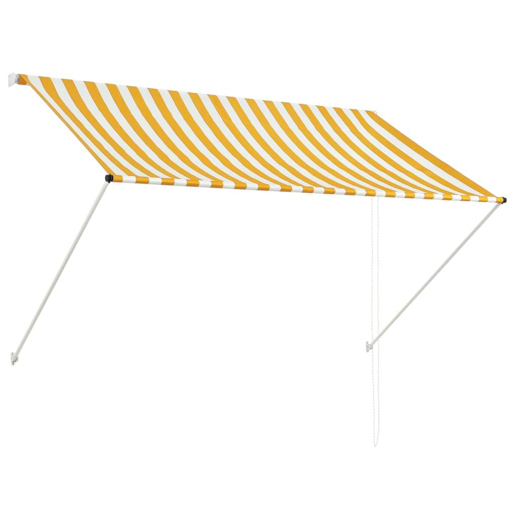vidaXL Zatahovací markýza žluto-bílá 200 x 150 cm