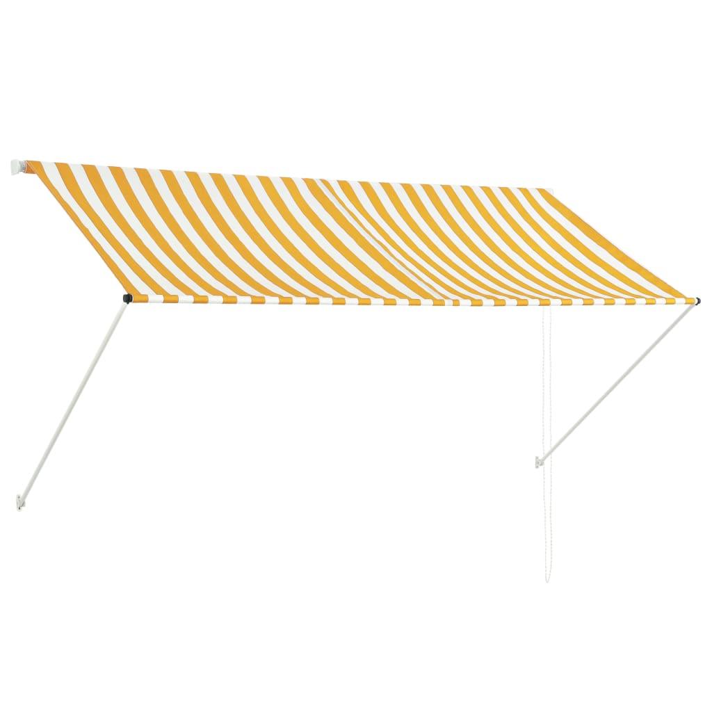 vidaXL Zatahovací markýza žluto-bílá 250 x 150 cm