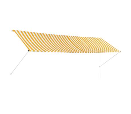 vidaXL Zatahovací markýza žluto-bílá 400 x 150 cm