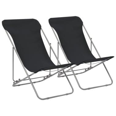 vidaXL Folding Beach Chairs 2 pcs Steel and Oxford Fabric Black[1/10]