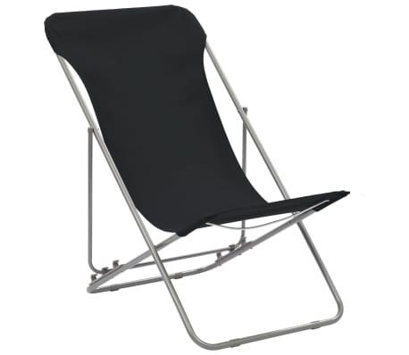 vidaXL Folding Beach Chairs 2 pcs Steel and Oxford Fabric Black[2/10]