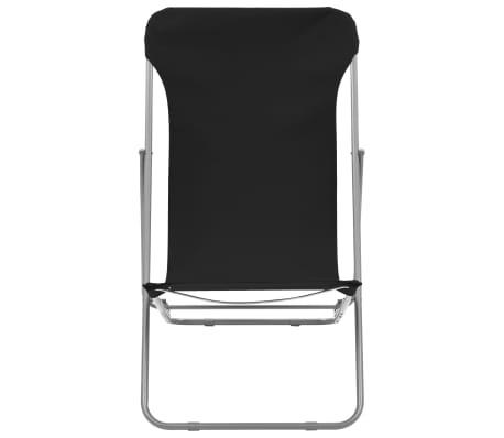 vidaXL Folding Beach Chairs 2 pcs Steel and Oxford Fabric Black[3/10]
