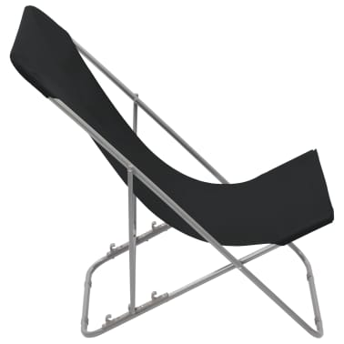 vidaXL Folding Beach Chairs 2 pcs Steel and Oxford Fabric Black[4/10]