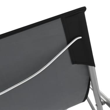 vidaXL Folding Beach Chairs 2 pcs Steel and Oxford Fabric Black[7/10]