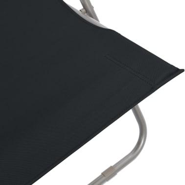 vidaXL Folding Beach Chairs 2 pcs Steel and Oxford Fabric Black[8/10]