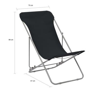 vidaXL Folding Beach Chairs 2 pcs Steel and Oxford Fabric Black[10/10]
