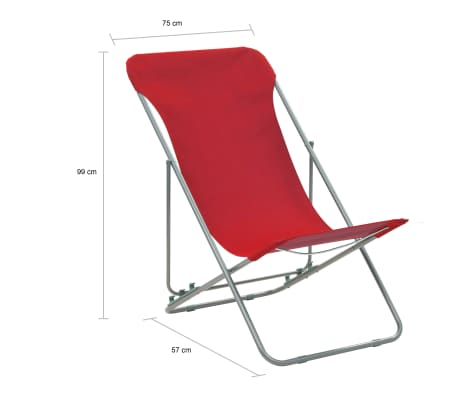 Vidaxl Folding Beach Chairs 2 Pcs Steel And Oxford Fabric Red 10