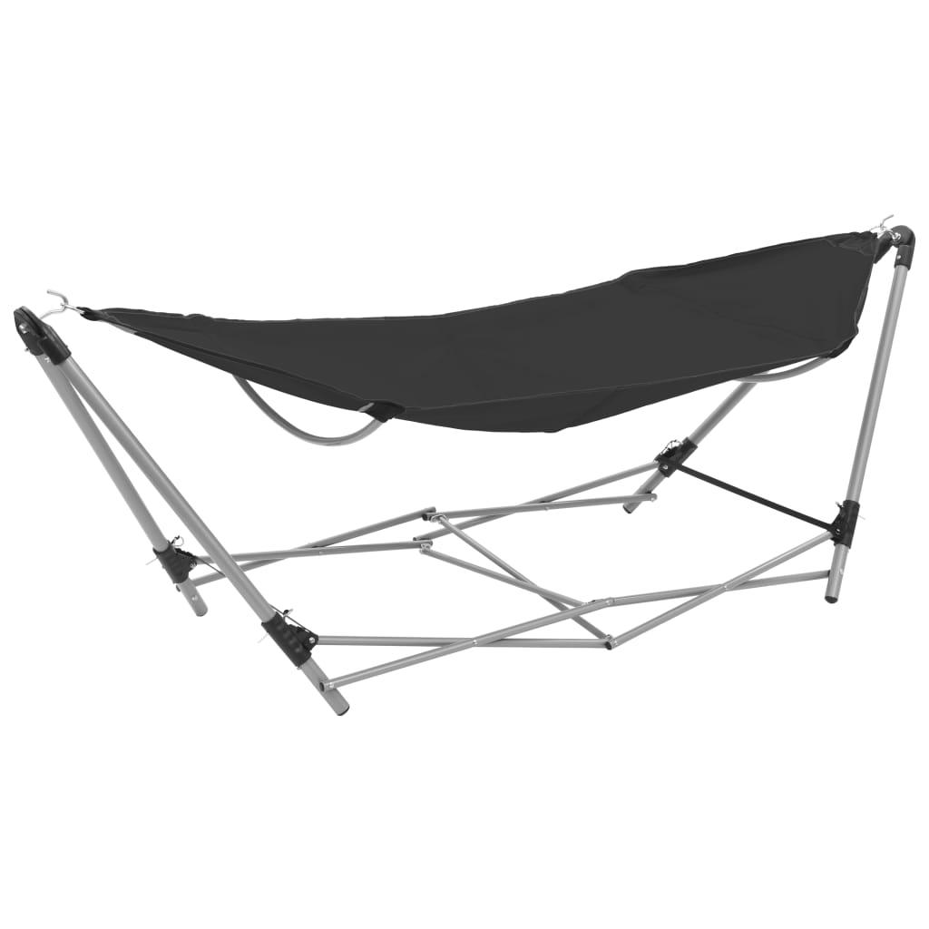 Afbeelding van vidaXL Hangmat met inklapbare standaard zwart