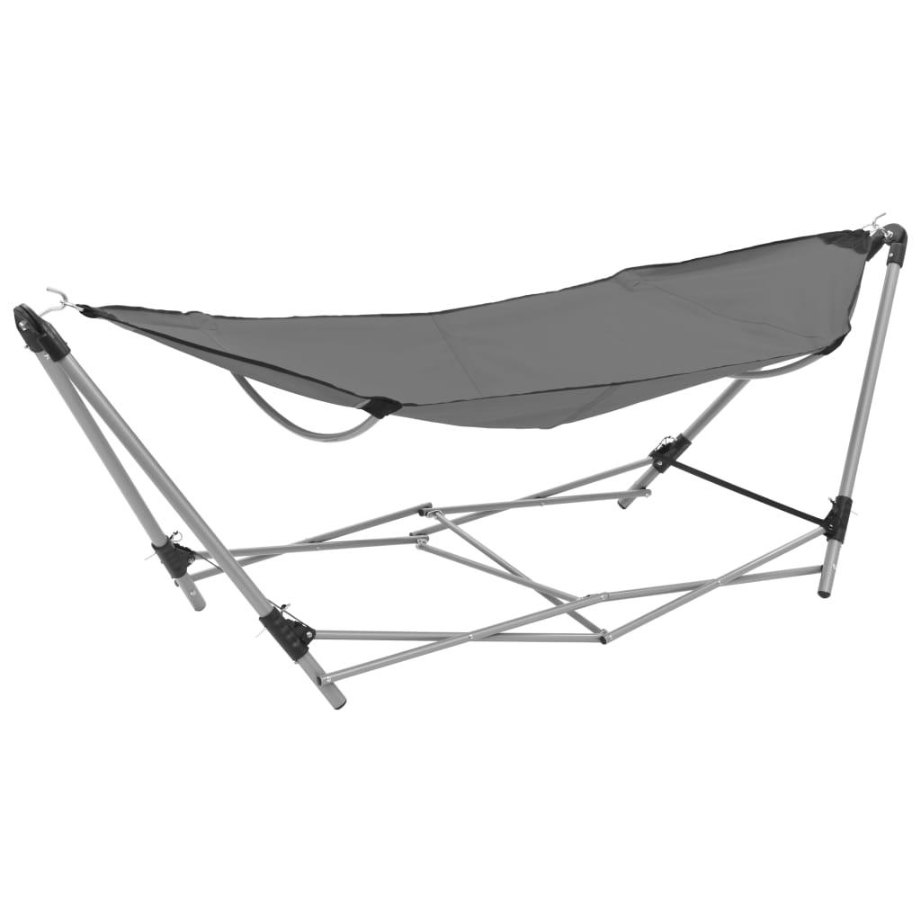 Afbeelding van vidaXL Hangmat met inklapbare standaard grijs