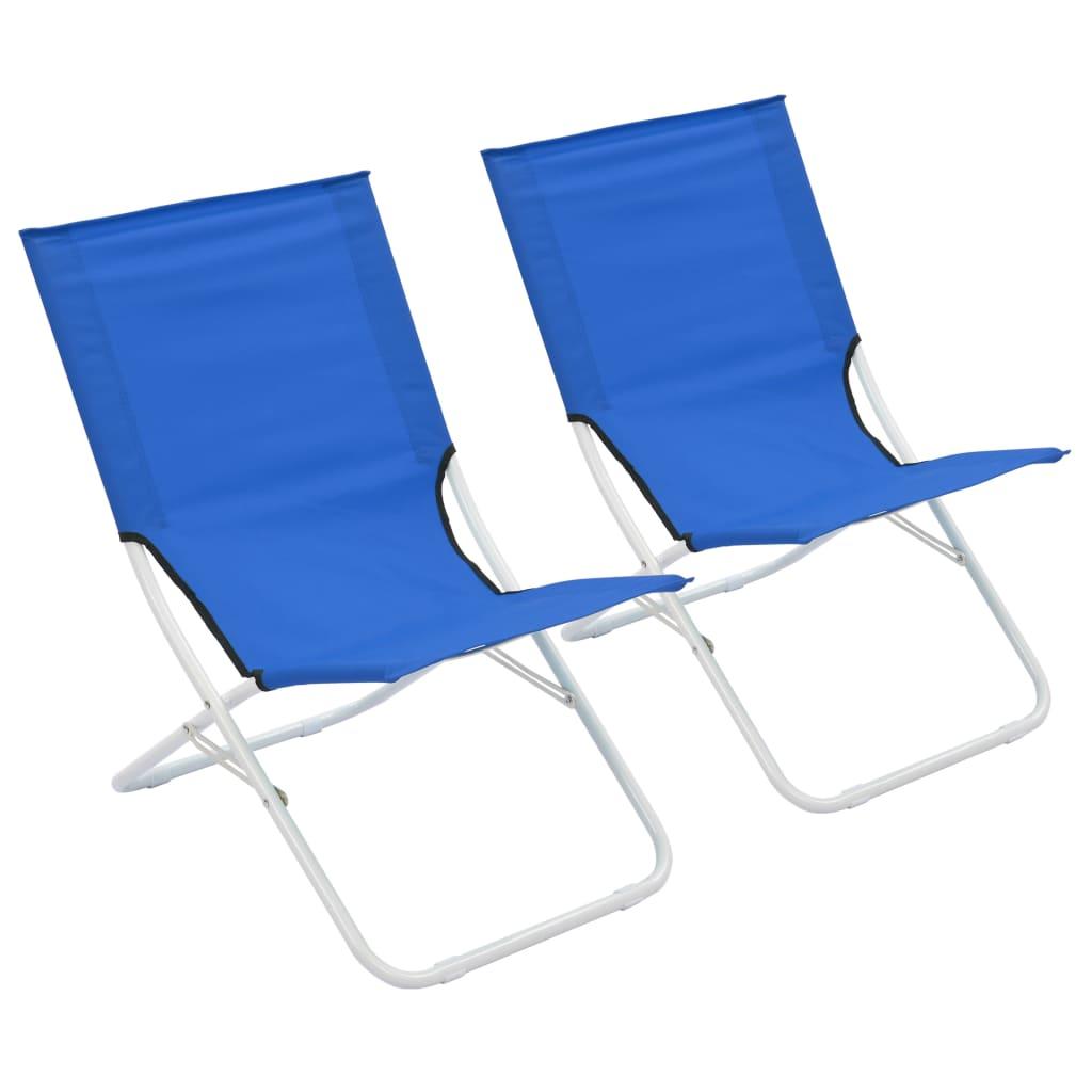 vidaXL Skládací plážové židle 2 ks modré