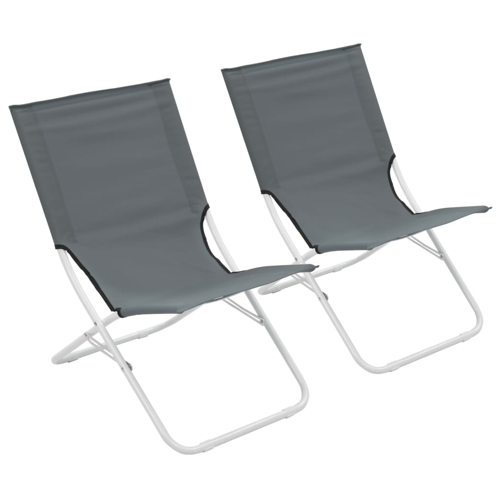 vidaXL Skládací plážové židle 2 ks šedé