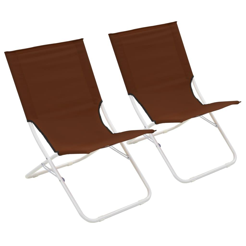 vidaXL Skládací plážové židle 2 ks hnědé